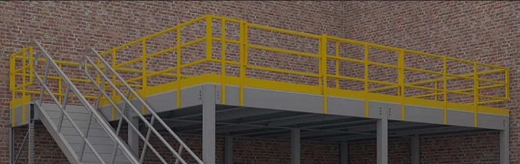 3-Rail Mezzanine Handrail